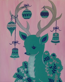 Deer with Ornaments in Teal and Pink
