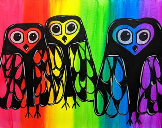 Glow Owl Family 16X20