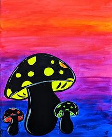 Glow Mushroooms on large 16X20