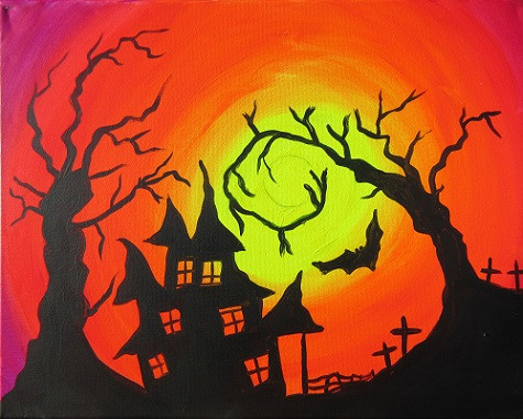 Glow Haunted House 16X20