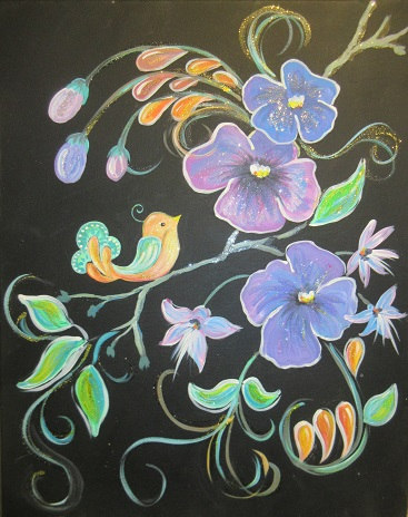 Singing Bird and Flowers  II