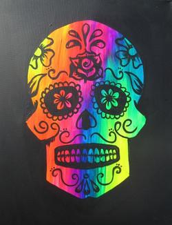 Glow Sugar Skull 16X20