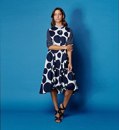 Alembika Polka Dot and Stripes Mazarine Dress