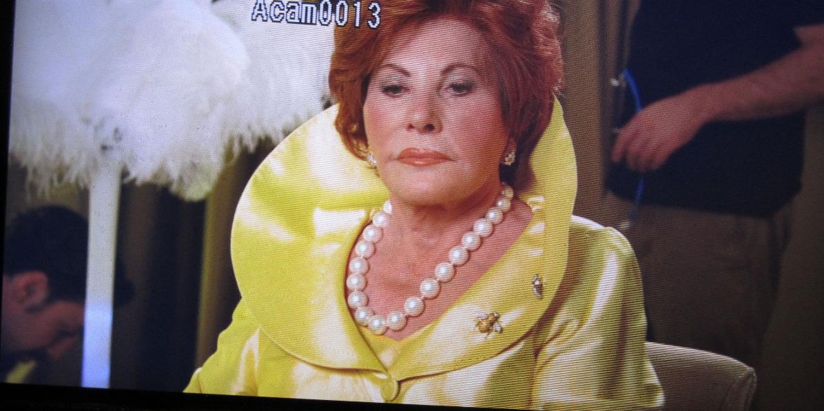 Simone Levitt in the monitor