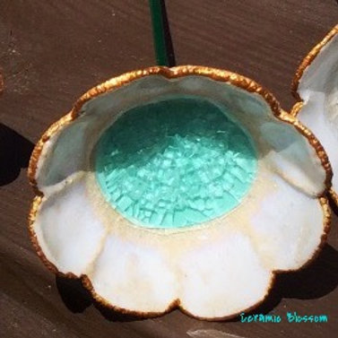 Turquoise glass with gold edge