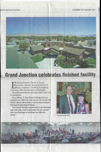 Emmanuel Baptist Church news paper artic