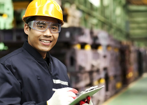 Portrait asian engineer smiling  look on
