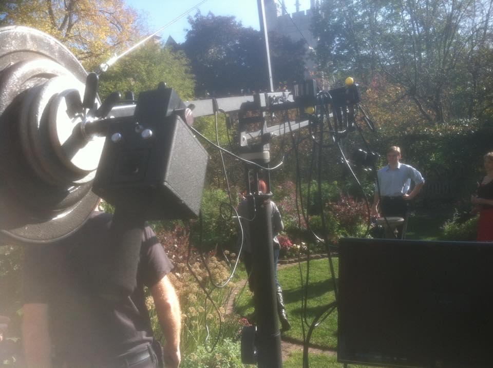 In the garden with crane