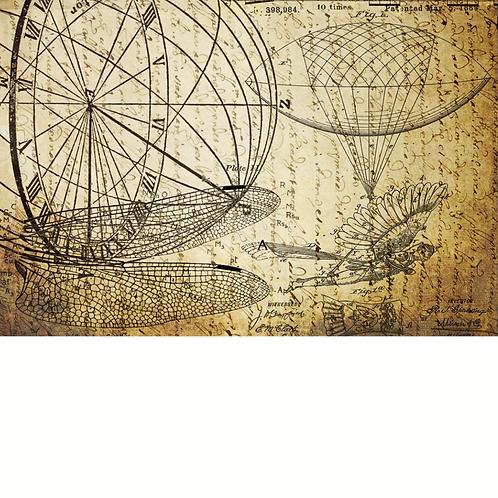 Roycycled Decoupage Paper-RJ SPALDING FLYING MACHINE PRINT- Dreams of Flight 2