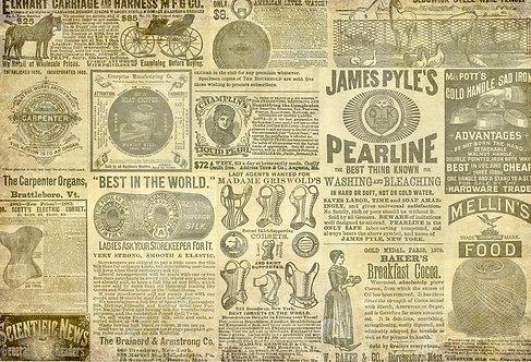 VINTAGE ADS -VICTORIAN ERA NEWSPAPER PRINT- Roycycled Decoupage Tissue Paper