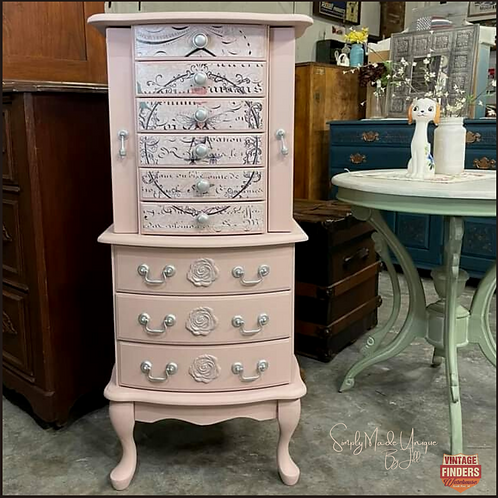 Soft PINK JEWLERY ARMOIRE Dresser Box - Painted Dixie Belle Silk Paint in CONCH