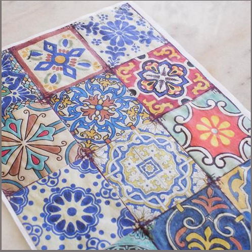 COLORFUL TILES Decoupage Rice Paper- for Furniture & Decor- by Dixie Belle Paint