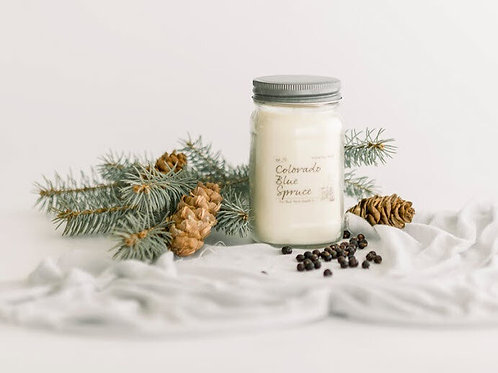 8oz COLORADO BLUE SPRUCE Scented Back Porch Candle Co. (Soy Wax, Ess. Oils)