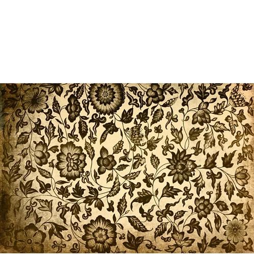 GRUNGY FLORAL -Boho Hippie Floral Print-Black & Cream- Roycycled Decoupage Paper