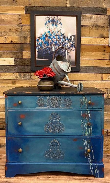 Boho Blue Rustic VINTAGE HAND PAINTED DRESSER  Solid Oak Chest of Drawers