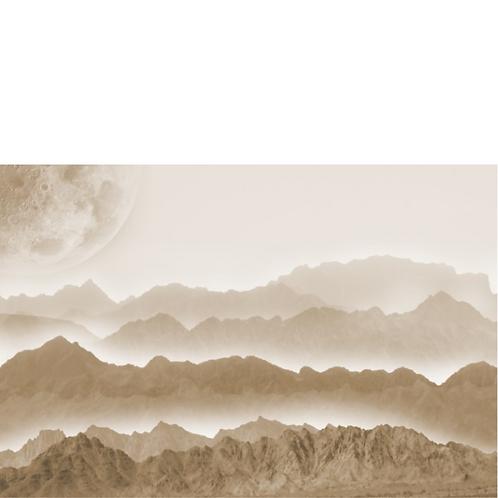 MISTY MOUNTAINS - Roycycled Decoupage Paper - Black White & Gray Landscape