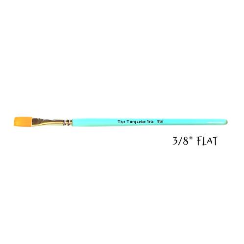 "*Paint Pixie Paint Brushes* Turquoise Iris Hobbyist Collection 3/8"" FLAT BRUSH"