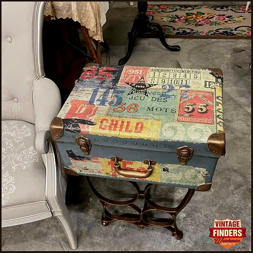 Antique 1930's LEATHER LUGGAGE SUITCASE SIDE TABLE - Chalk Painted Plant Stand