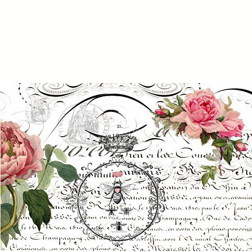 QUEEN BEE - Roycycled Decoupage Paper - Romantic Vintage Farmhouse Floral Print