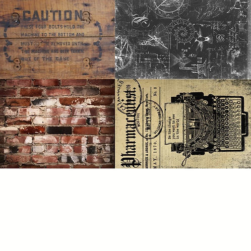 INDUSTRIAL PROJECT BLOCKS -Gothic Steampunk Print-Roycycled Decoupage Paper
