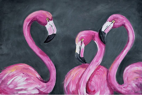 MINGOS -Painted PINK FLAMINGO PAINTING Print- Roycycled Decoupage Paper-