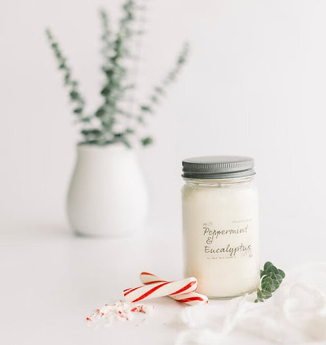 8oz PEPPERMINT & EUCALYPTUS Scented Back Porch Candle Co/ Soy Wax, Ess. Oils