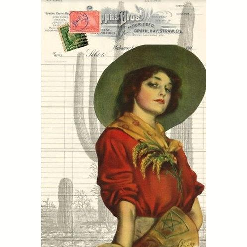 Roycycled Decoupage Paper- COWGIRL EPHEMERA - Vintage Poster Art Print