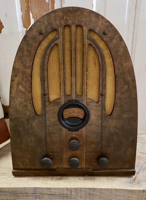 1937 Antique Art Deco Philco Tube Wood Radio Model 37-60