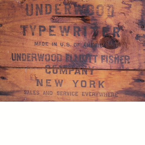 Antique UNDERWOOD TYPEWRITER WOOD CRATE PRINT- Roycycled Decoupage Tissue Paper