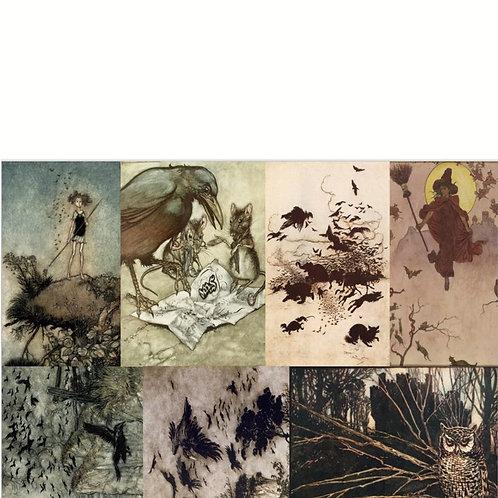 HALLOWEEN BLOCKS- Roycycled Decoupage Paper- Gothic Painting Print
