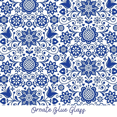 ORNATE BLUE GLASS Decoupage Rice Paper- for Furniture & Decor- by Dixie Belle