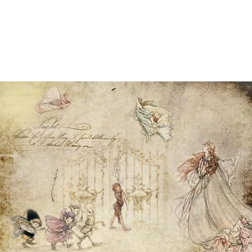 FAIRIES - Roycycled Decoupage Paper - Art Nouveau Fairy Tale Illustration