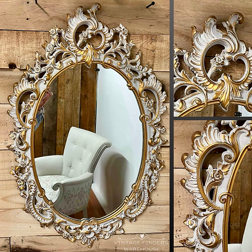 Vintage 1950s SYROCO WALL MIRROR Gilded Carved Wood