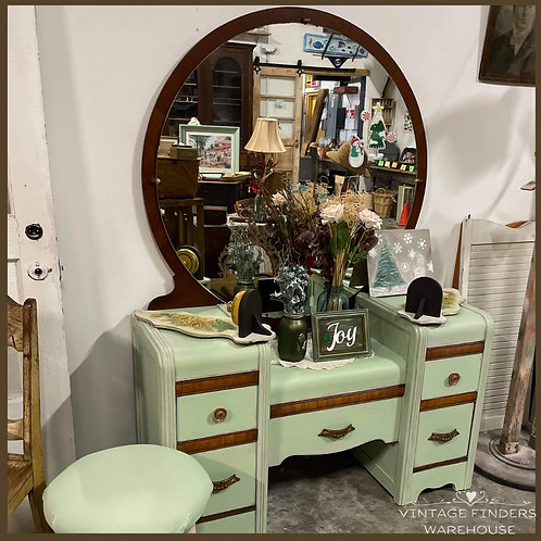 Antique 1920's ART DECO WATERFALL VANITY Table Chalk Painted Farmhouse Style