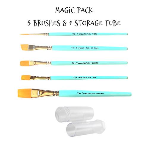 *Paint Pixie* Turquoise Iris Hobbyist Collection MAGIC PACK 5 BRUSHES & STORAGE