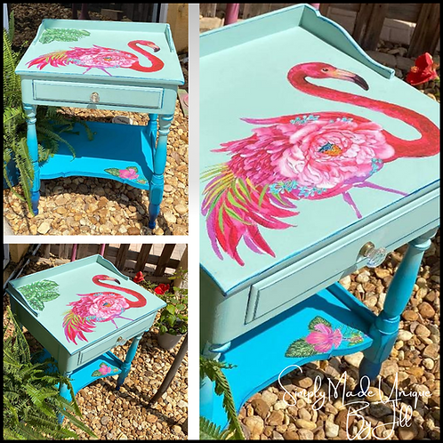 BLUE OMBRE PAINTED Vintage PINK FLAMINGO END TABLE Night Stand