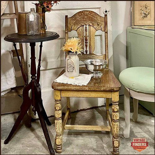 Naturally Distressed ANTIQUE FARMHOUSE STYLE  CARVED WOOD CHAIR