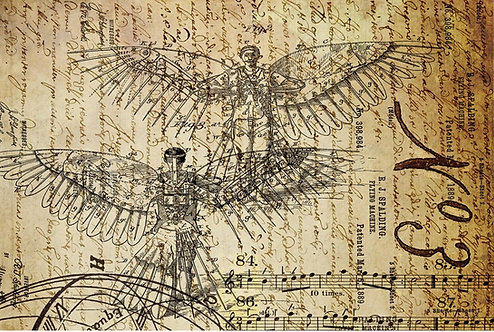DREAMS OF FLIGHT 1 -RJ Spalding Flying Machine Print- Roycycled Decoupage Paper-