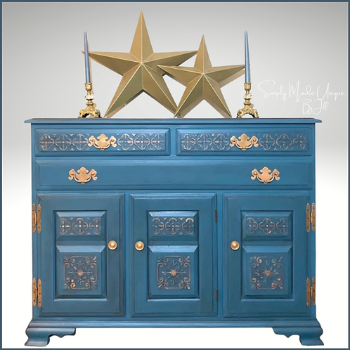 Simply Made Unique By Jill Chalk Painted TEMPLE STUART BUFFET Antebellum Blue