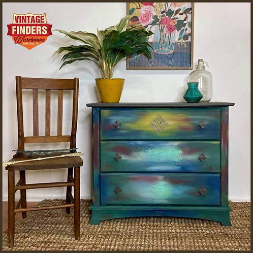 BOHO CHIC Vintage COLORFUL PAINTED DRESSER Chest of Drawers-Bedroom Decor