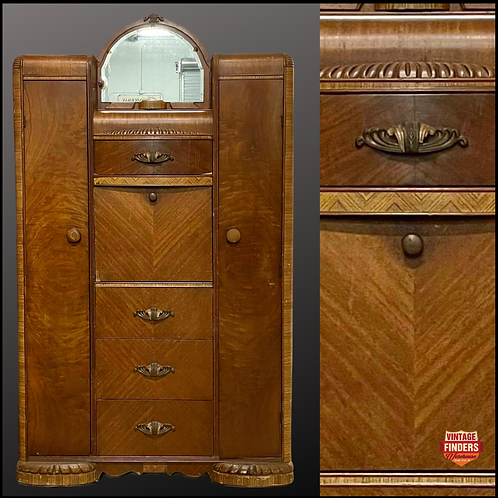 1920's Antique ART DECO WARDROBE /Gentlemen's Dresser/ Secretary Desk ALL IN ONE
