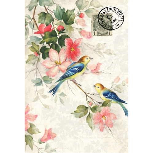 BLUE WINGED BIRDS - Roycycled Decoupage Paper - Vintage Floral Watercolor Print