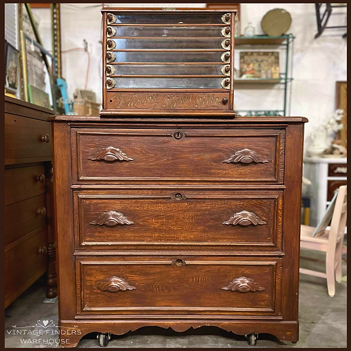 Antique 1800's CARVED HANDLE CHEST OF DRAWERS Vintage Victorian Era Dresser