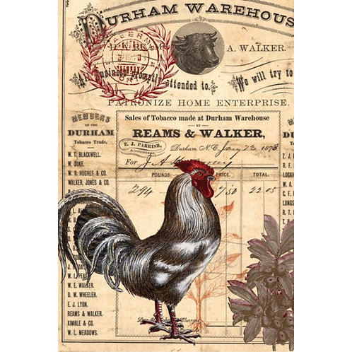 RED ROOSTER -Roycyled Decoupage Paper- Vintage Farmhouse Country Theme