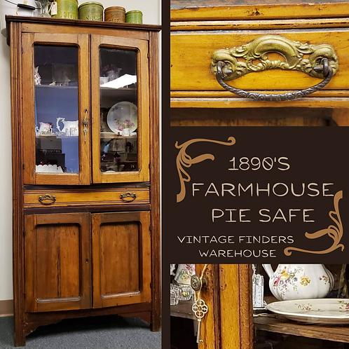 Antique 1800's Victorian Era OAK WOOD PIE SAFE Farmhouse Style Cabinet/Hutch