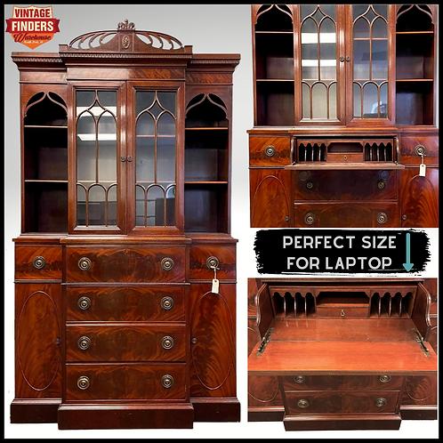 1940's Vintage MAHOGANY SECRETARY DESK Book Shelf Display Case/Home Office