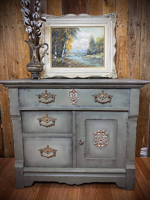Farmhouse Style Chalk Painted *VINTAGE WET BAR* by *Simply Made Unique By Jill*