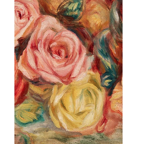 TEXTURED FLORAL (left) -Rose Bouquet Painting Print- Roycycled Decoupage Paper