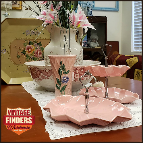1950's PINK Vintage MIRAMAR OF CALIFORNIA Appetizer/Candy Dishes 1956 & 1957
