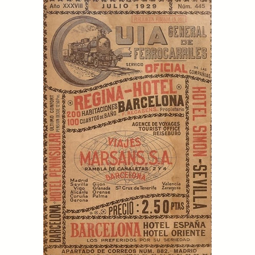 TRAIN- Antique Vintage SPAIN HOTEL TRAVEL THEME Print-Roycycled Decoupage Paper-